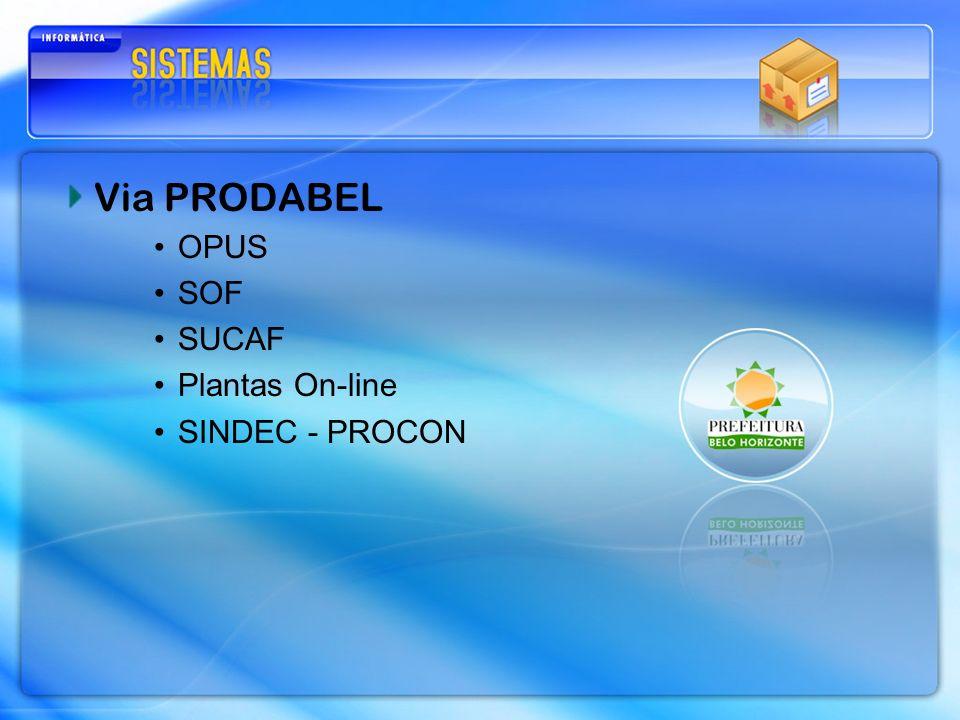Via PRODABEL OPUS SOF SUCAF Plantas On-line SINDEC - PROCON