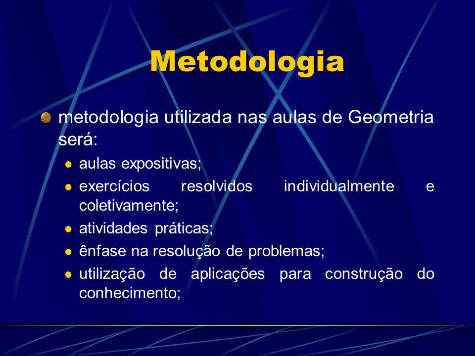 Metodologia metodologia utilizada nas aulas de Geometria será: aulas expositivas; exercícios resolvidos individualmente e coletivamente; atividades pr