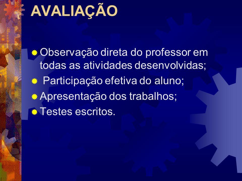 AVALIAÇÃO Observação direta do professor em todas as atividades desenvolvidas; Participação efetiva do aluno; Apresentação dos trabalhos; Testes escritos.