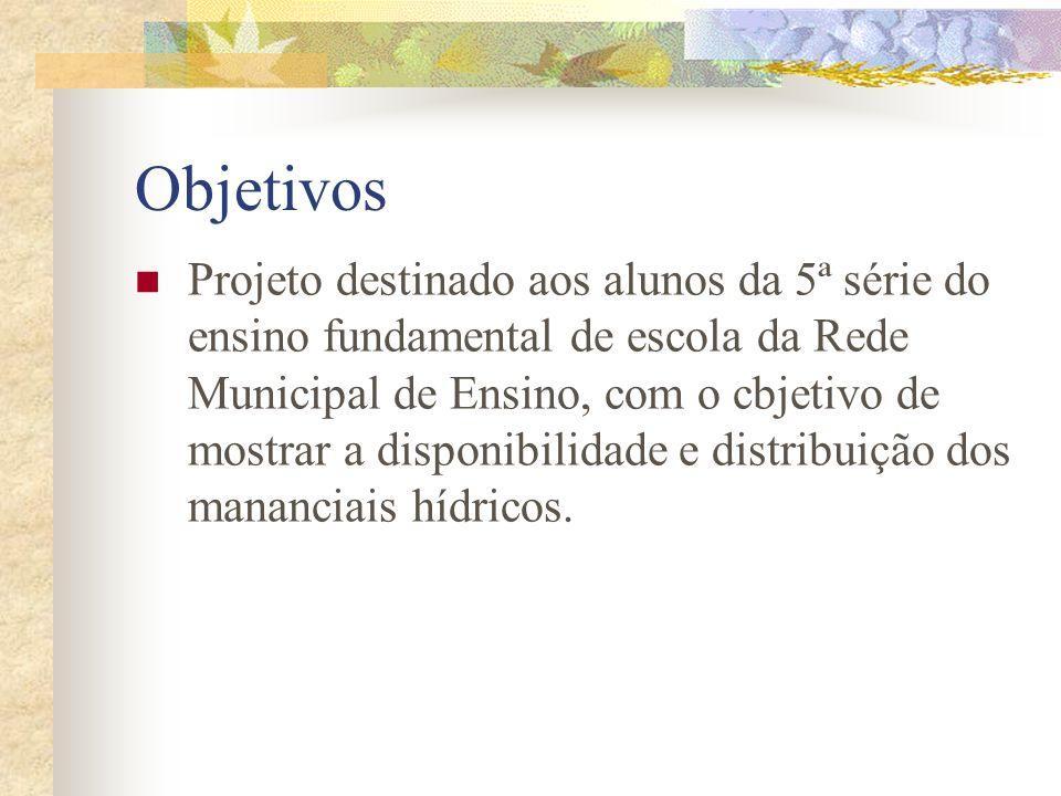 Objetivos Projeto destinado aos alunos da 5ª série do ensino fundamental de escola da Rede Municipal de Ensino, com o cbjetivo de mostrar a disponibilidade e distribuição dos mananciais hídricos.