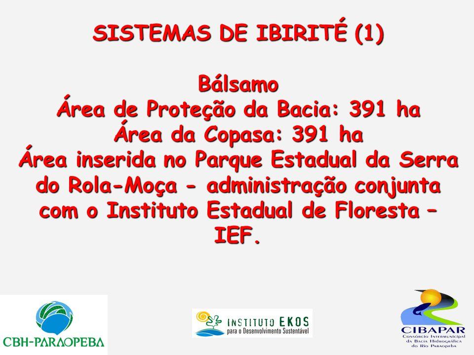 SISTEMAS DE IBIRITÉ (1) Bálsamo Área de Proteção da Bacia: 391 ha Área da Copasa: 391 ha Área inserida no Parque Estadual da Serra do Rola-Moça - admi