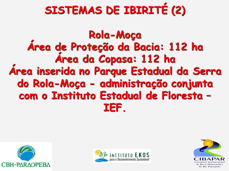 SISTEMAS DE IBIRITÉ (2) Rola-Moça Área de Proteção da Bacia: 112 ha Área da Copasa: 112 ha Área inserida no Parque Estadual da Serra do Rola-Moça - ad