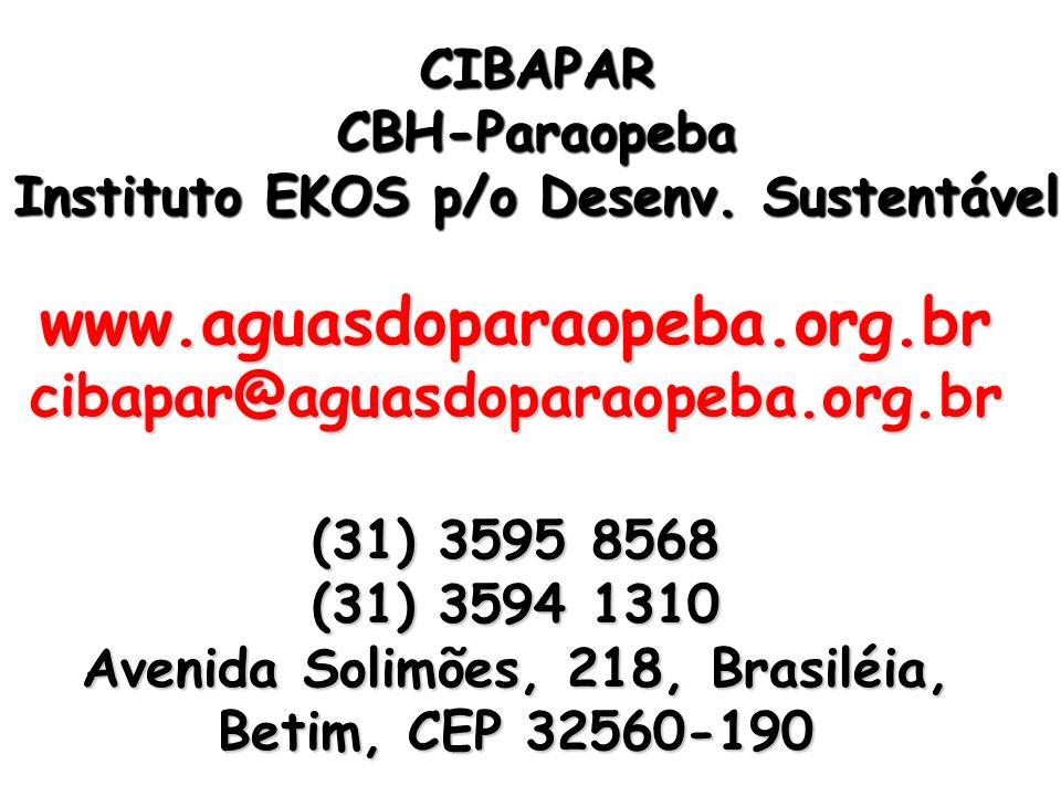 www.aguasdoparaopeba.org.br cibapar@aguasdoparaopeba.org.br (31) 3595 8568 (31) 3594 1310 Avenida Solimões, 218, Brasiléia, Betim, CEP 32560-190 CIBAP
