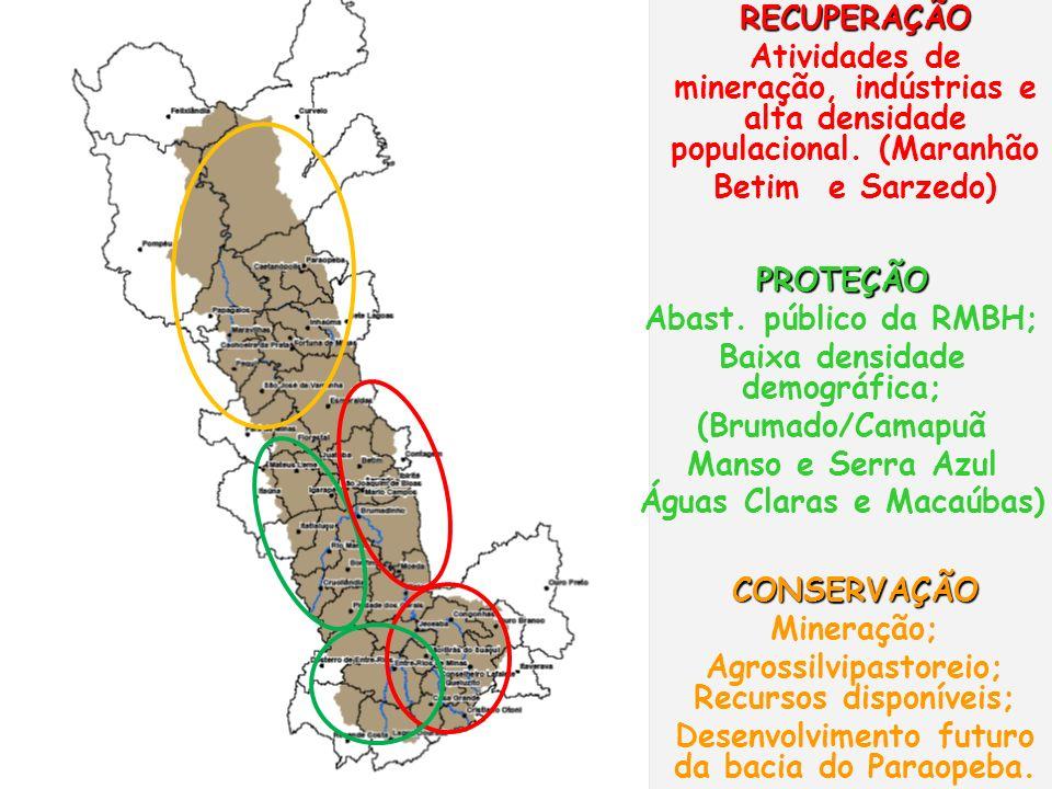 PROTEÇÃO Abast. público da RMBH; Baixa densidade demográfica; (Brumado/Camapuã Manso e Serra Azul Águas Claras e Macaúbas) CONSERVAÇÃO Mineração; Agro