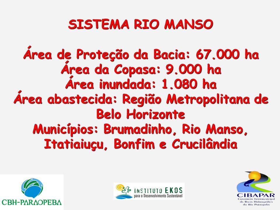SISTEMA RIO MANSO Área de Proteção da Bacia: 67.000 ha Área da Copasa: 9.000 ha Área inundada: 1.080 ha Área abastecida: Região Metropolitana de Belo
