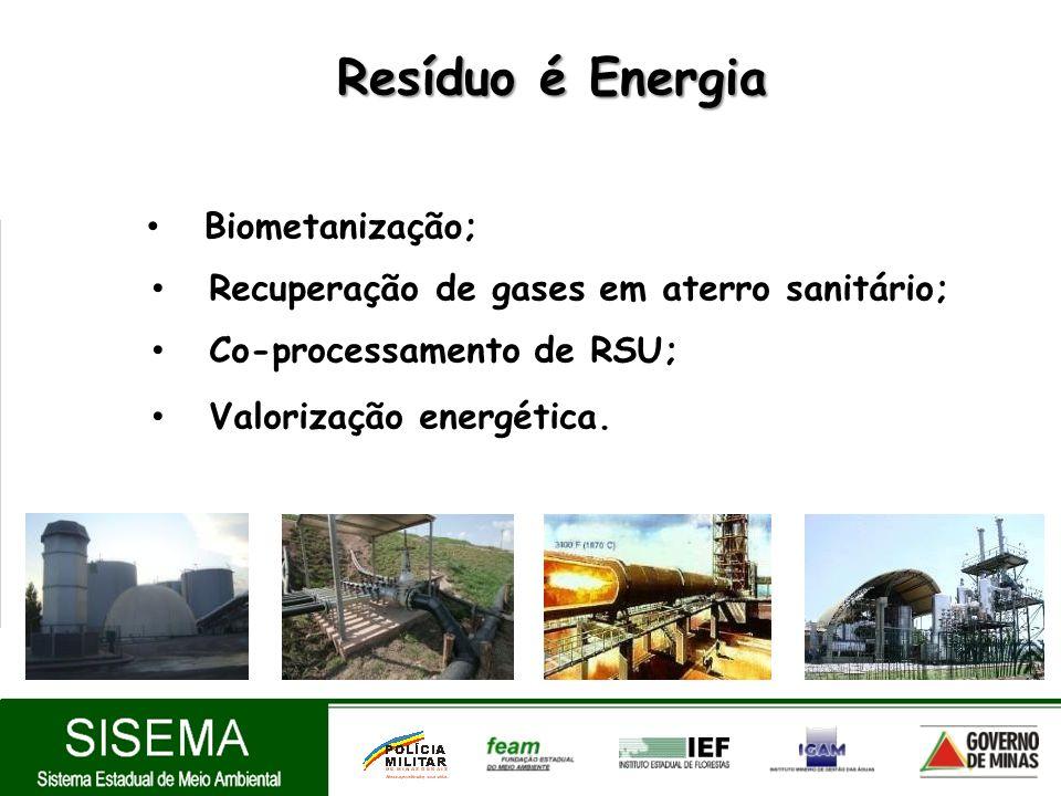 Resíduo é Energia Resíduo é Energia Biometanização; Recuperação de gases em aterro sanitário; Co-processamento de RSU; Valorização energética.