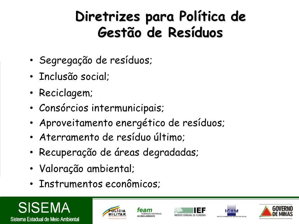 Diretrizes para Política de Gestão de Resíduos Aproveitamento energético de resíduos; Aterramento de resíduo último; Segregação de resíduos; Reciclage