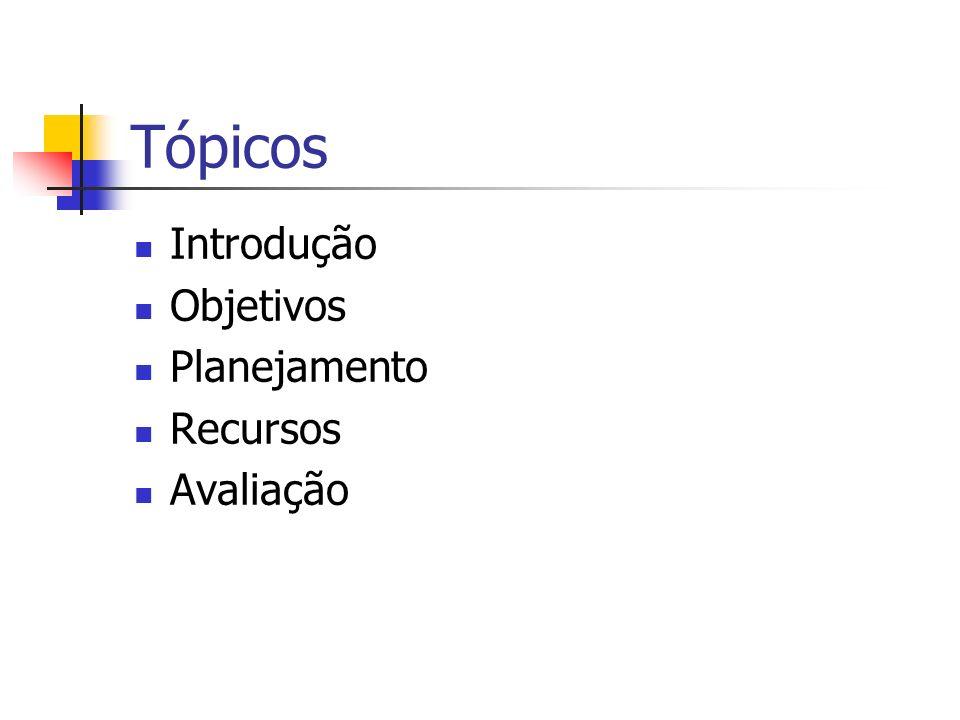 Tópicos Introdução Objetivos Planejamento Recursos Avaliação