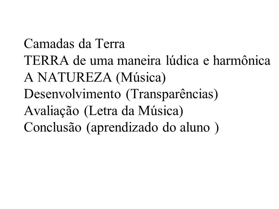 Camadas da Terra TERRA de uma maneira lúdica e harmônica A NATUREZA (Música) Desenvolvimento (Transparências) Avaliação (Letra da Música) Conclusão (a