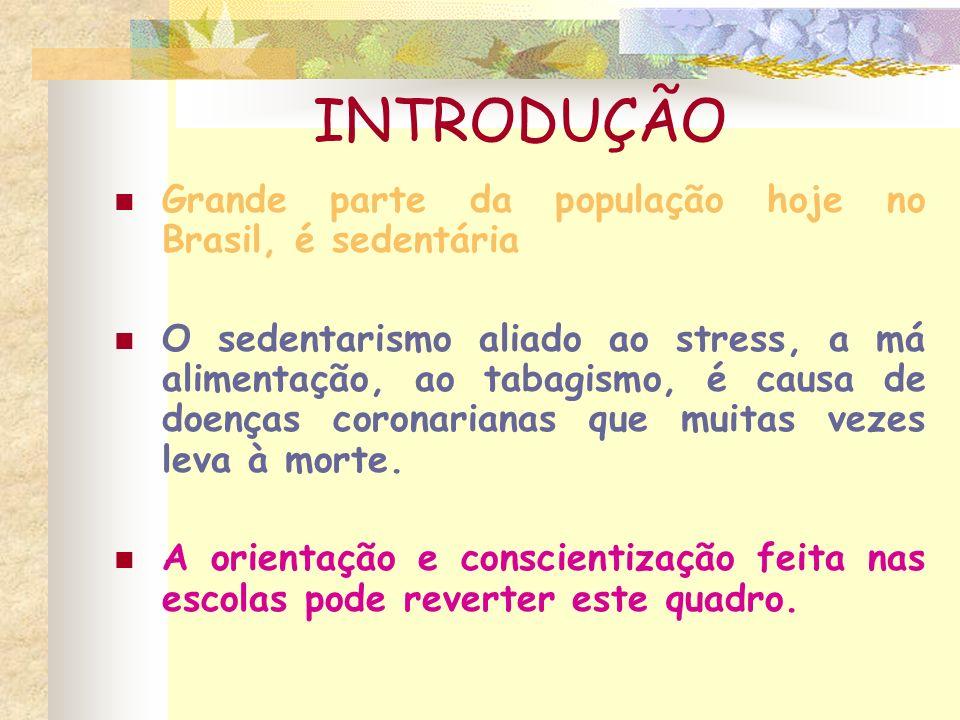 INTRODUÇÃO Grande parte da população hoje no Brasil, é sedentária O sedentarismo aliado ao stress, a má alimentação, ao tabagismo, é causa de doenças coronarianas que muitas vezes leva à morte.