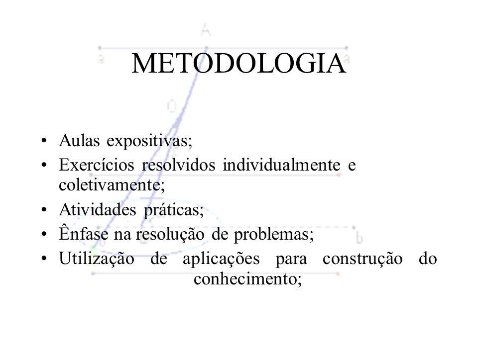 METODOLOGIA Aulas expositivas; Exercícios resolvidos individualmente e coletivamente; Atividades práticas; Ênfase na resolução de problemas; Utilização de aplicações para construção do conhecimento;