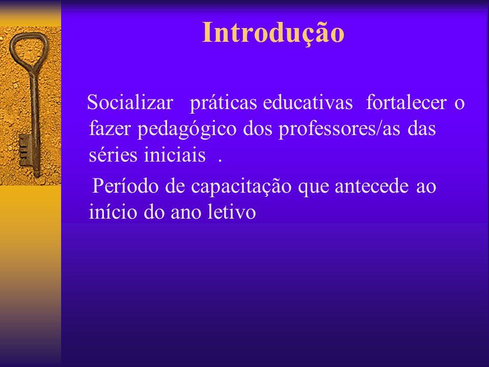 Introdução Socializar práticas educativas fortalecer o fazer pedagógico dos professores/as das séries iniciais. Período de capacitação que antecede ao