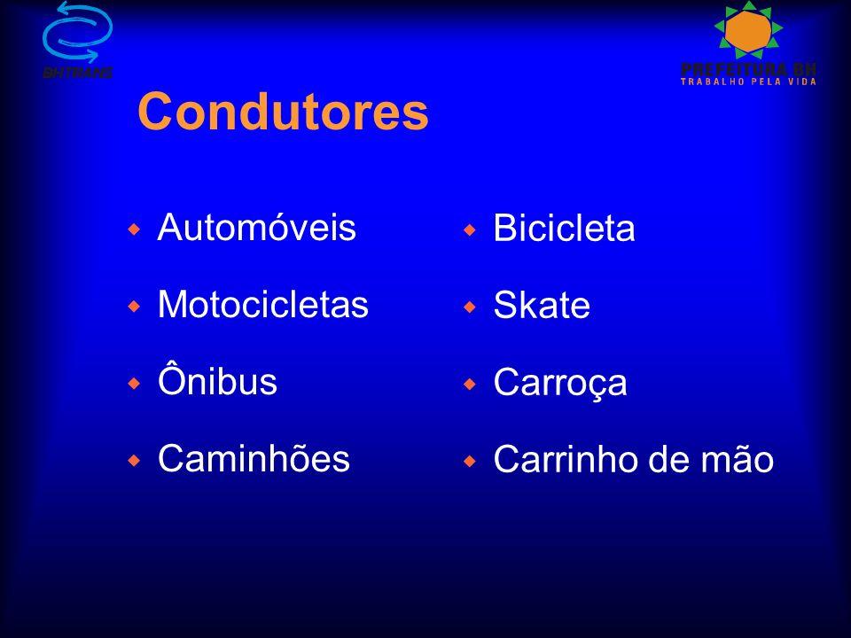Condutores w Automóveis w Motocicletas w Ônibus w Caminhões w Bicicleta w Skate w Carroça w Carrinho de mão