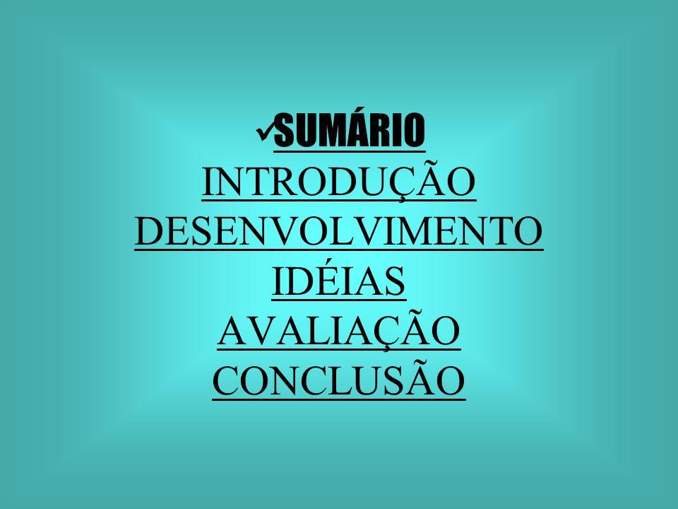 SUMÁRIO INTRODUÇÃO DESENVOLVIMENTO IDÉIAS AVALIAÇÃO CONCLUSÃO