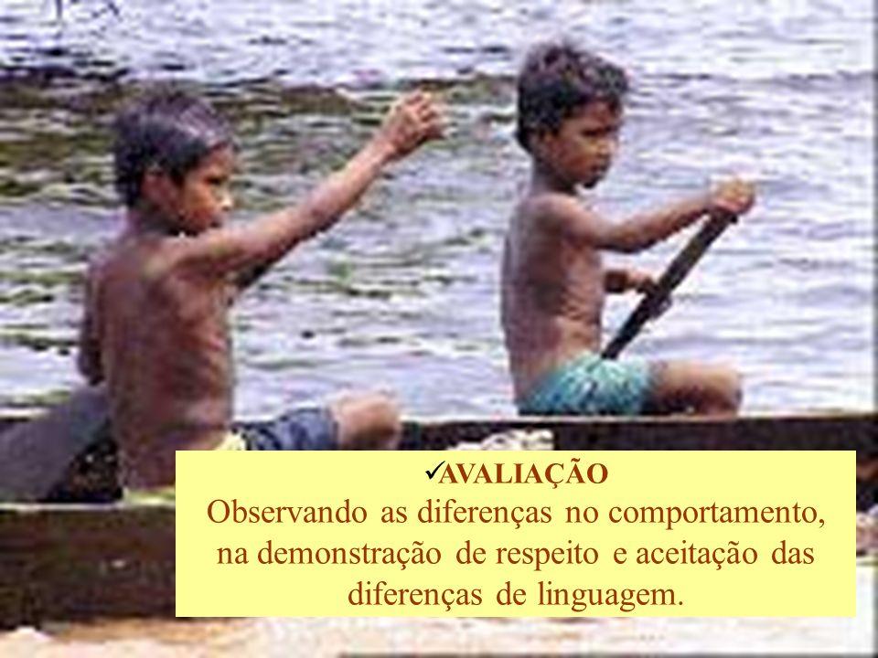 AVALIAÇÃO Observando as diferenças no comportamento, na demonstração de respeito e aceitação das diferenças de linguagem.