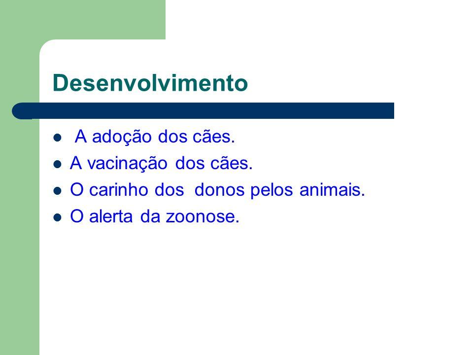 Desenvolvimento A adoção dos cães. A vacinação dos cães. O carinho dos donos pelos animais. O alerta da zoonose.