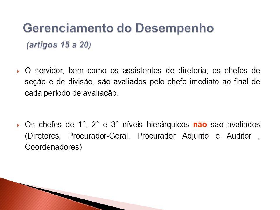O servidor, bem como os assistentes de diretoria, os chefes de seção e de divisão, são avaliados pelo chefe imediato ao final de cada período de avaliação.