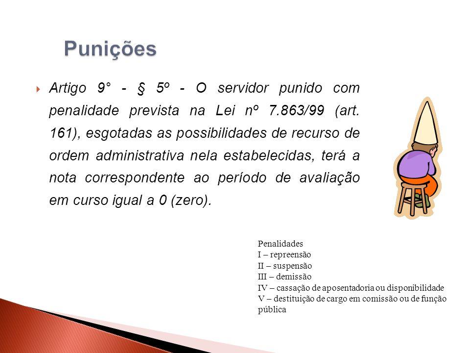 Artigo 9° - § 5º - O servidor punido com penalidade prevista na Lei nº 7.863/99 (art.