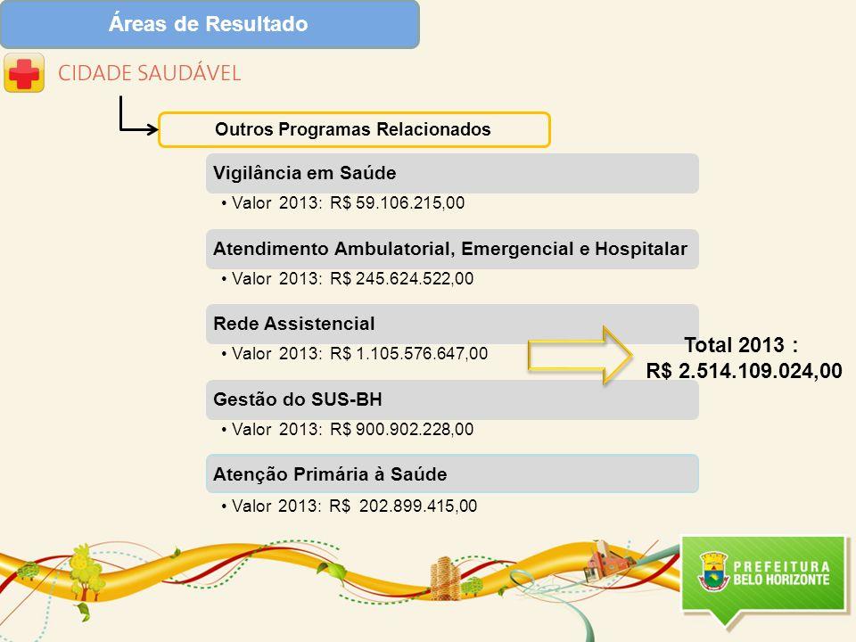 Áreas de Resultado Outros Programas Relacionados Atenção Primária à Saúde Valor 2013: R$ 202.899.415,00 Total 2013 : R$ 2.514.109.024,00