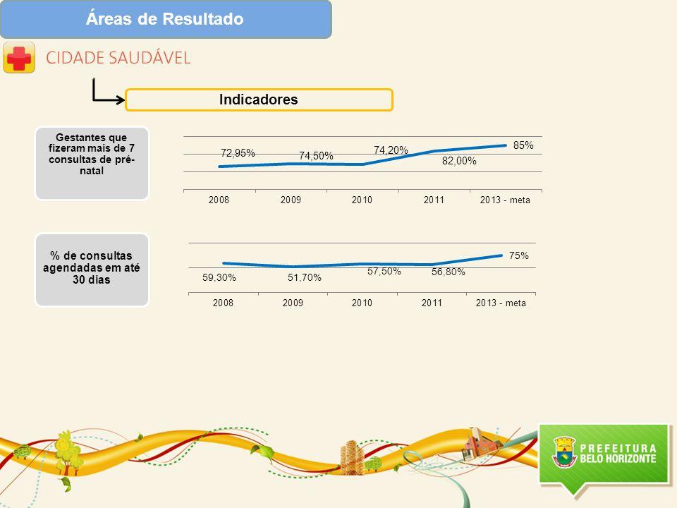Áreas de Resultado Indicadores Gestantes que fizeram mais de 7 consultas de pré- natal % de consultas agendadas em até 30 dias