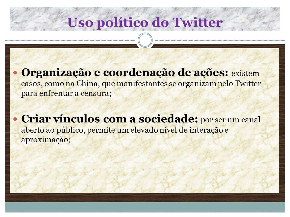 Uso político do Twitter Organização e coordenação de ações: existem casos, como na China, que manifestantes se organizam pelo Twitter para enfrentar a