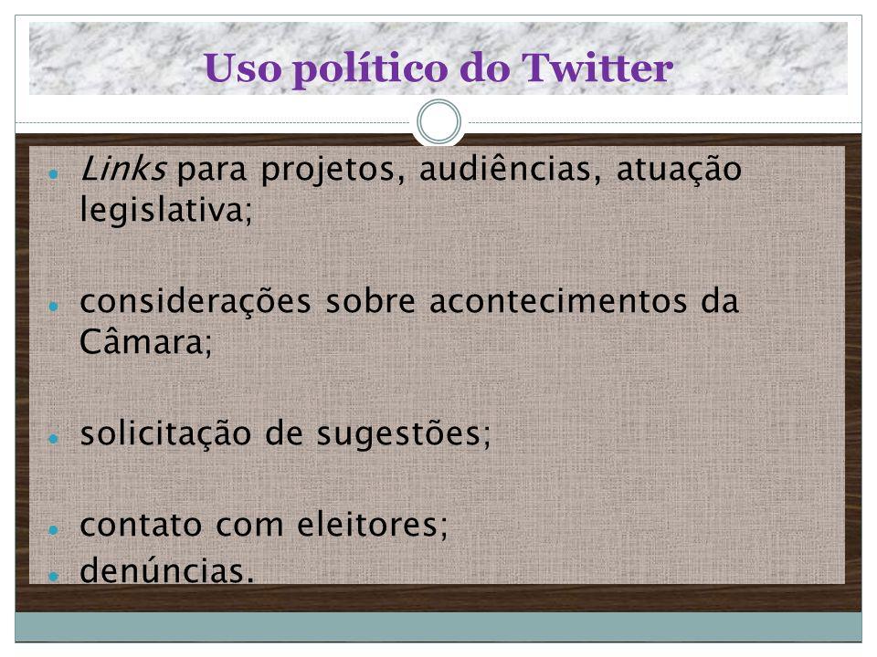 Uso político do Twitter Links para projetos, audiências, atuação legislativa; considerações sobre acontecimentos da Câmara; solicitação de sugestões;