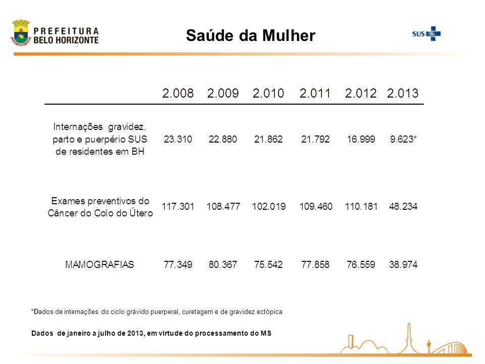 Saúde da Mulher Dados de janeiro a julho de 2013, em virtude do processamento do MS *Dados de internações do ciclo grávido puerperal, curetagem e de g