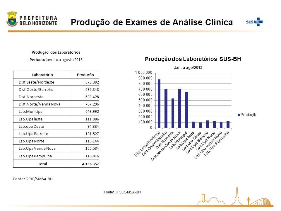 Produção de Exames de Análise Clínica Fonte: GPJE/SMSA-BH Produção dos Laboratórios Período: janeiro a agosto 2013 LaboratórioProdução Dist.Leste/Nord