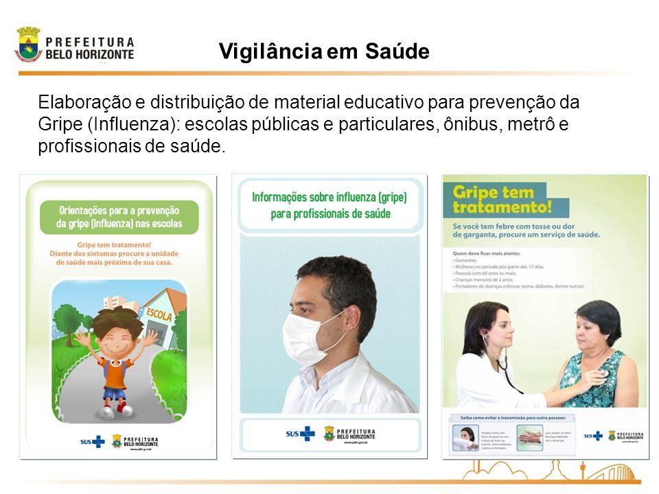 Vigilância em Saúde Elaboração e distribuição de material educativo para prevenção da Gripe (Influenza): escolas públicas e particulares, ônibus, metr