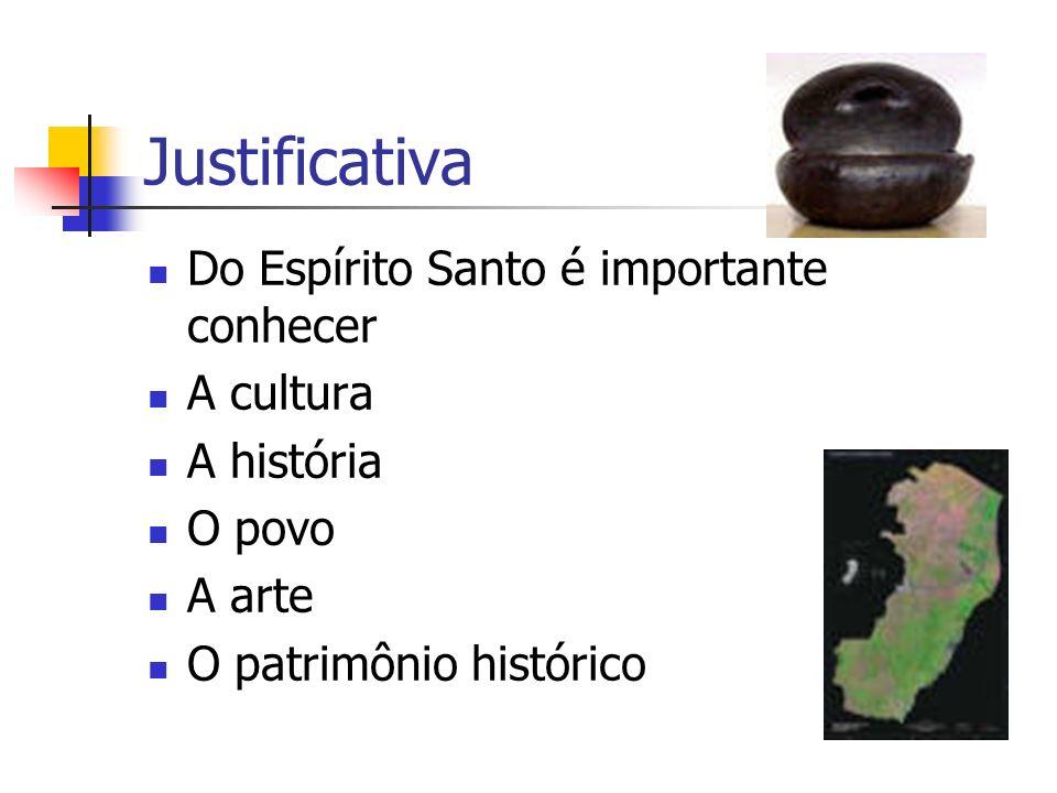 Justificativa Do Espírito Santo é importante conhecer A cultura A história O povo A arte O patrimônio histórico