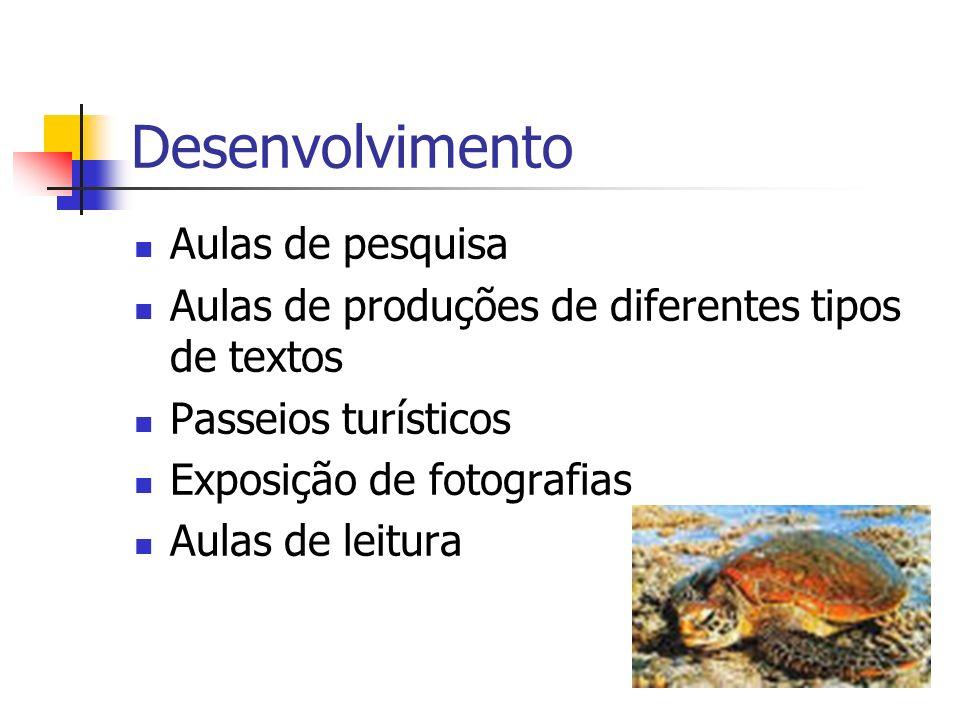 Desenvolvimento Aulas de pesquisa Aulas de produções de diferentes tipos de textos Passeios turísticos Exposição de fotografias Aulas de leitura