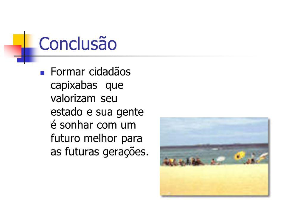 Conclusão Formar cidadãos capixabas que valorizam seu estado e sua gente é sonhar com um futuro melhor para as futuras gerações.