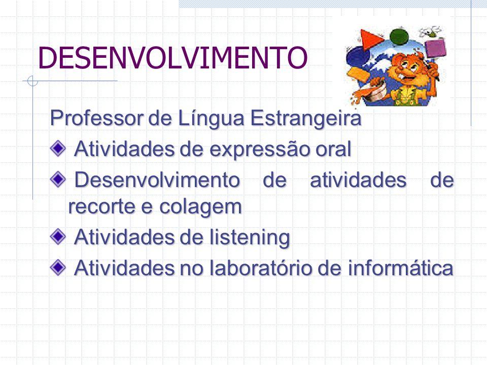 DESENVOLVIMENTO Professor de Língua Estrangeira Atividades Atividades de expressão oral Desenvolvimento Desenvolvimento de atividades de recorte e col