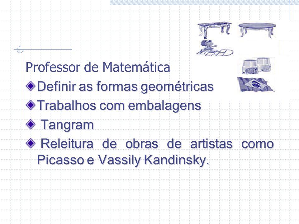 Professor de Matemática Definir as formas geométricas Trabalhos Trabalhos com embalagens Tangram Releitura Releitura de obras de artistas como Picasso