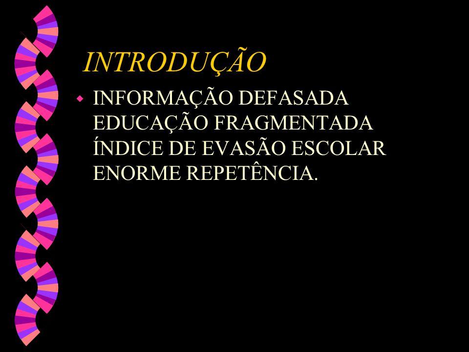 INTRODUÇÃO wIwINFORMAÇÃO DEFASADA EDUCAÇÃO FRAGMENTADA ÍNDICE DE EVASÃO ESCOLAR ENORME REPETÊNCIA.
