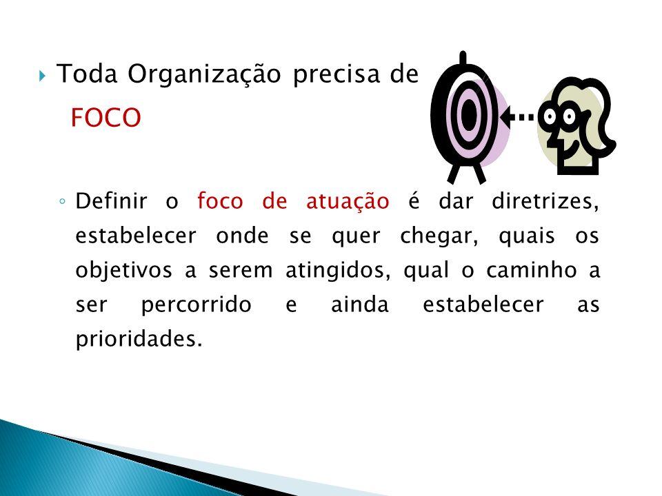 Toda Organização precisa de FOCO Definir o foco de atuação é dar diretrizes, estabelecer onde se quer chegar, quais os objetivos a serem atingidos, qual o caminho a ser percorrido e ainda estabelecer as prioridades.