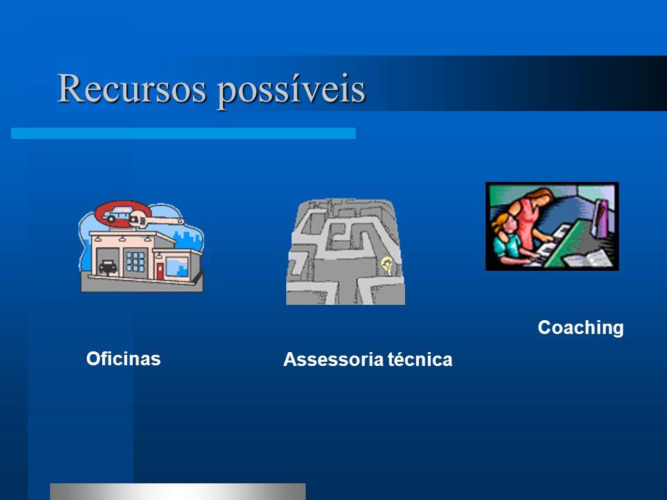 Recursos possíveis Oficinas Coaching Assessoria técnica