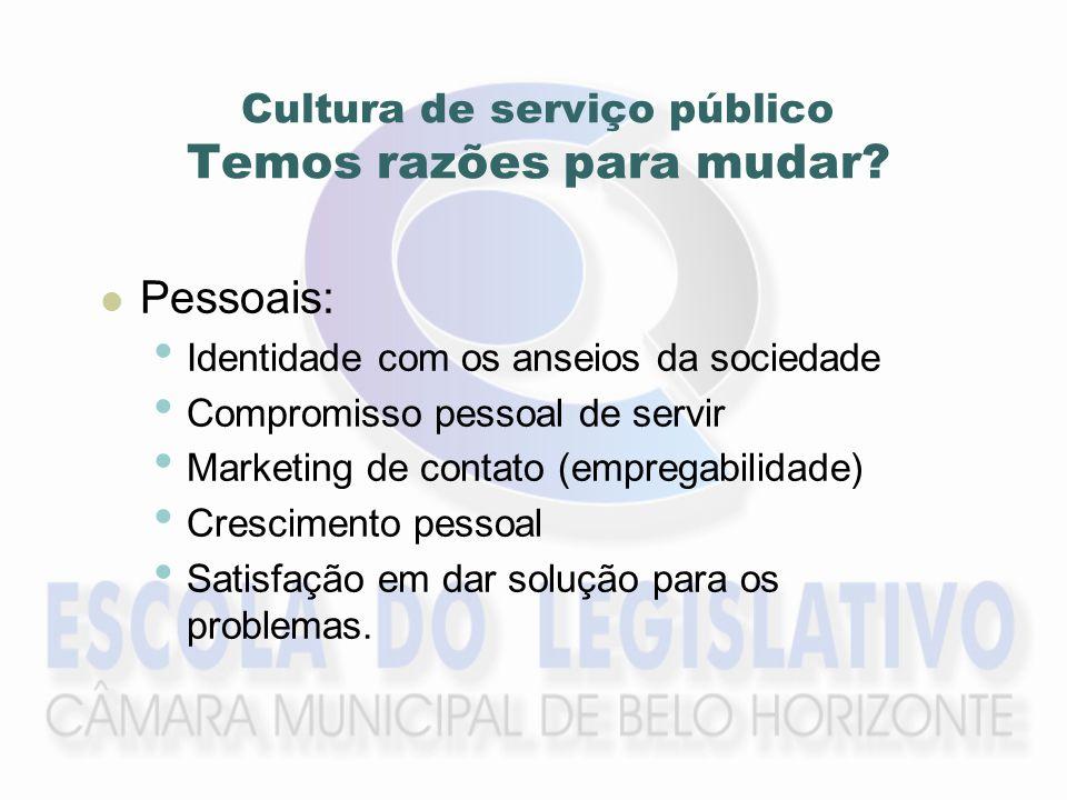 Organizacionais: Concorrência por recursos públicos Busca por reconhecimento público Mudança da imagem do serviço público Cultura de serviço público Temos razões para mudar?