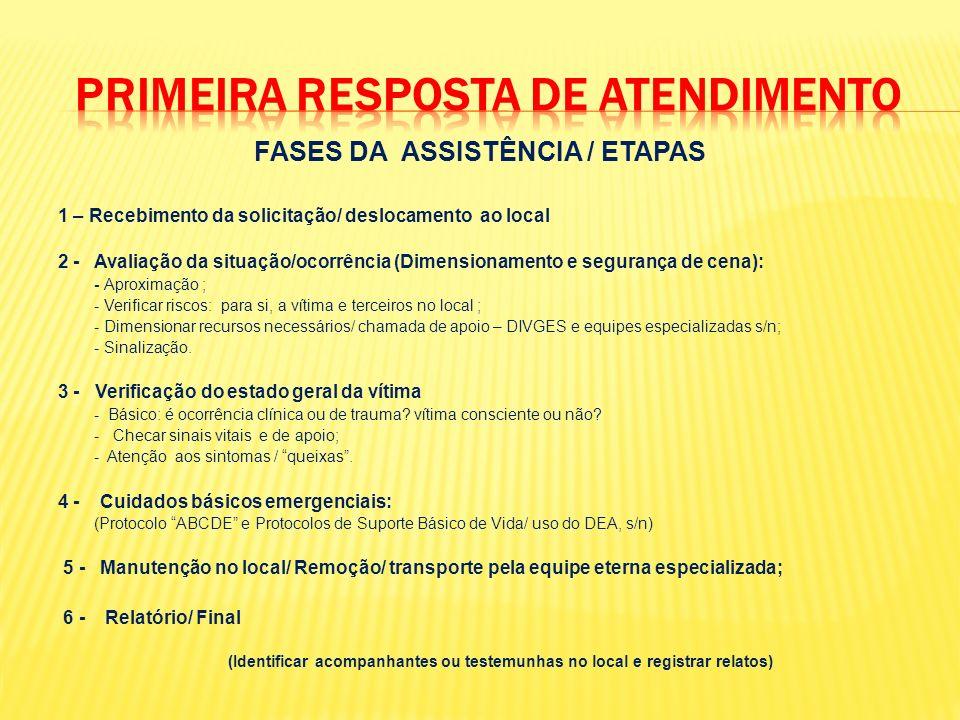 FASES DA ASSISTÊNCIA / ETAPAS 1 – Recebimento da solicitação/ deslocamento ao local 2 - Avaliação da situação/ocorrência (Dimensionamento e segurança