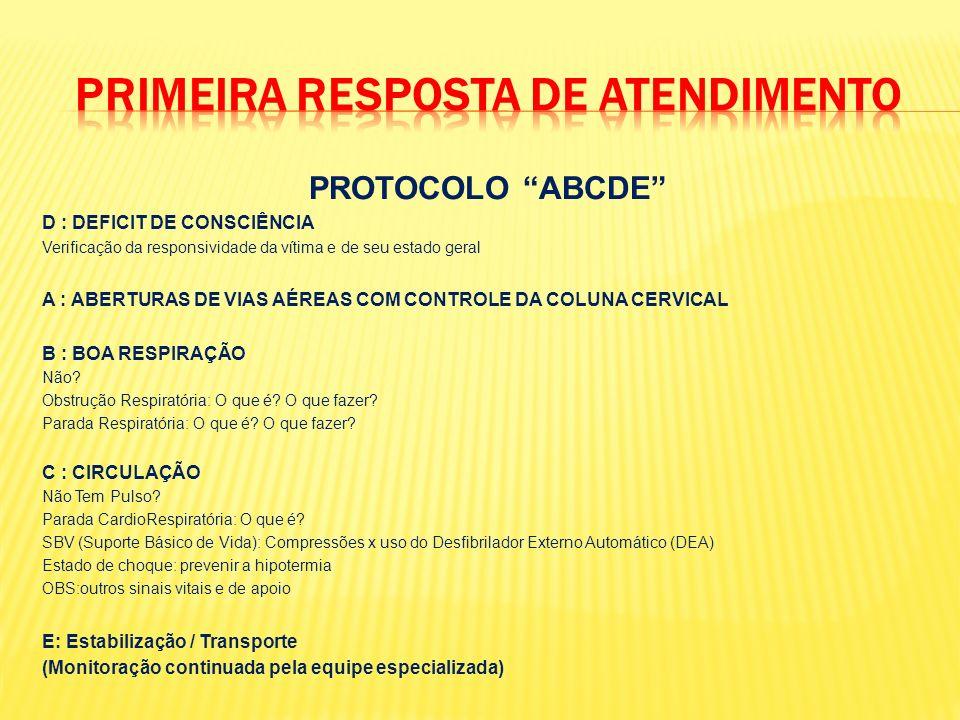 PROTOCOLO ABCDE D : DEFICIT DE CONSCIÊNCIA Verificação da responsividade da vítima e de seu estado geral A : ABERTURAS DE VIAS AÉREAS COM CONTROLE DA COLUNA CERVICAL B : BOA RESPIRAÇÃO Não.