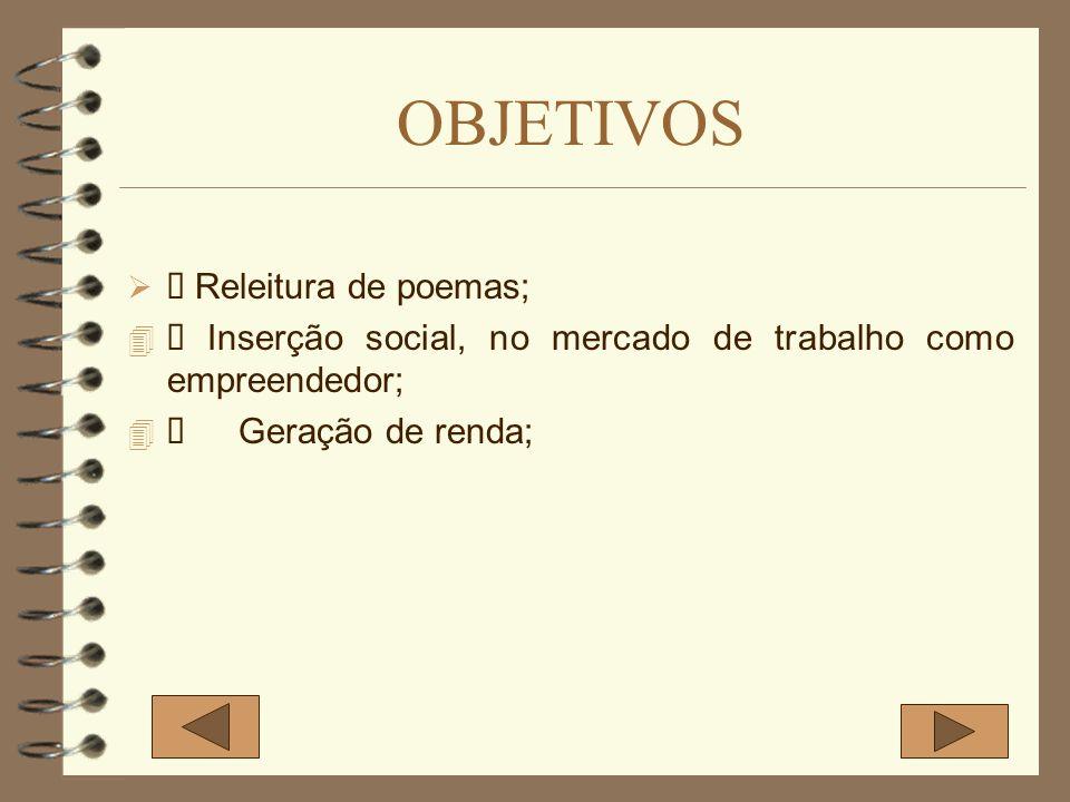 OBJETIVOS Releitura de poemas; Inserção social, no mercado de trabalho como empreendedor; Geração de renda;