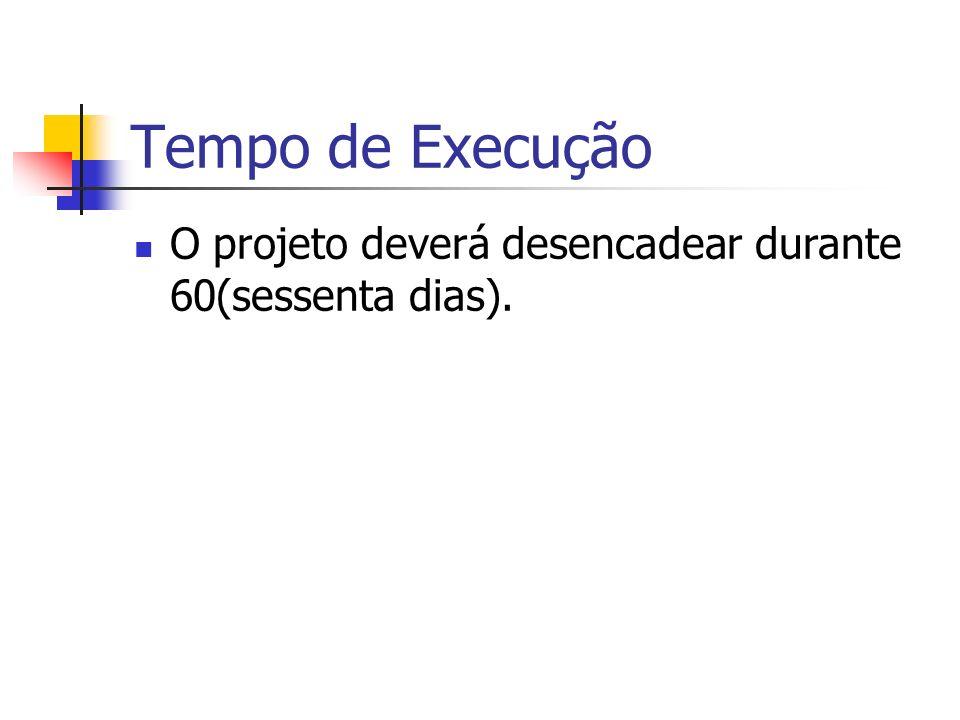 Tempo de Execução O projeto deverá desencadear durante 60(sessenta dias).