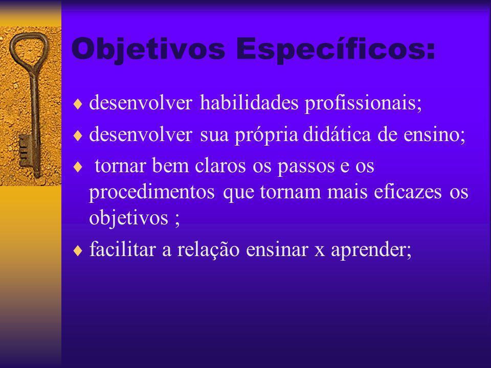 Objetivo Geral: Objetivo Geral: Propiciar ao docente o gosto pela arte de ensinar e discernir entre o saber e o comunicar.