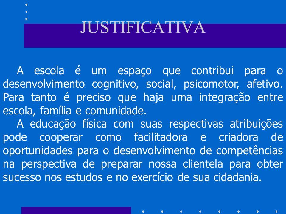 JUSTIFICATIVA A escola é um espaço que contribui para o desenvolvimento cognitivo, social, psicomotor, afetivo.