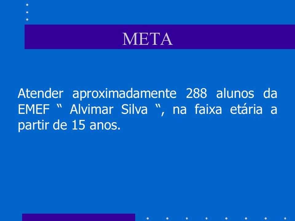 META Atender aproximadamente 288 alunos da EMEF Alvimar Silva, na faixa etária a partir de 15 anos.