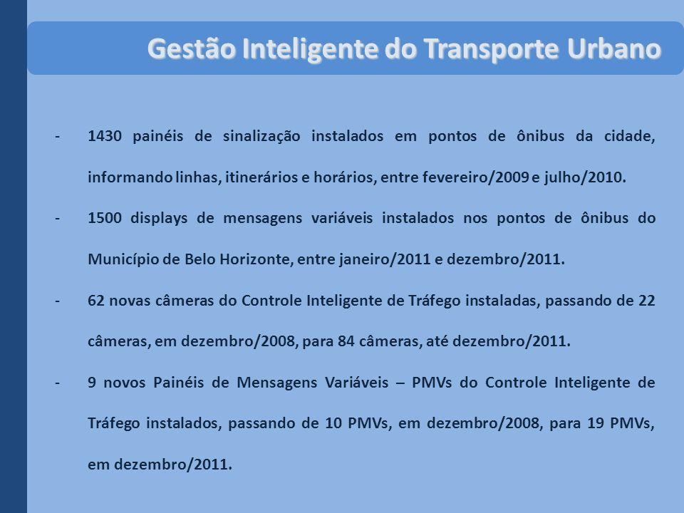 -1430 painéis de sinalização instalados em pontos de ônibus da cidade, informando linhas, itinerários e horários, entre fevereiro/2009 e julho/2010. -