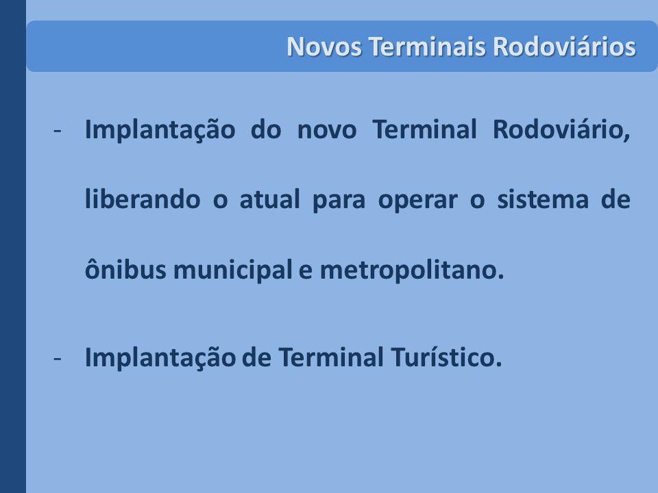 -Implantação do novo Terminal Rodoviário, liberando o atual para operar o sistema de ônibus municipal e metropolitano. -Implantação de Terminal Turíst