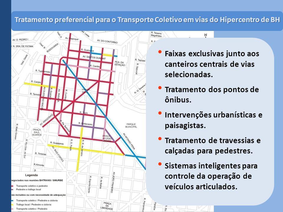 Tratamento preferencial para o Transporte Coletivo em vias do Hipercentro de BH Faixas exclusivas junto aos canteiros centrais de vias selecionadas. T