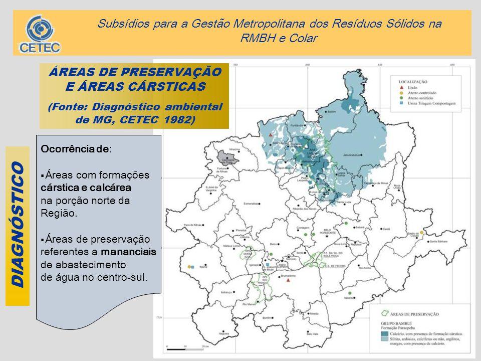 10 DIAGNÓSTICO ÁREAS DE PRESERVAÇÃO E ÁREAS CÁRSTICAS (Fonte: Diagnóstico ambiental de MG, CETEC 1982) Ocorrência de: Áreas com formações cárstica e c