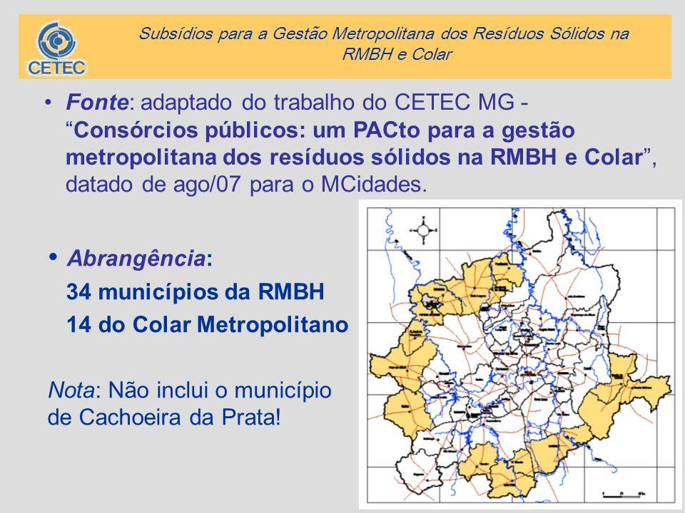 2 Abrangência: 34 municípios da RMBH 14 do Colar Metropolitano Nota: Não inclui o município de Cachoeira da Prata! Fonte: adaptado do trabalho do CETE